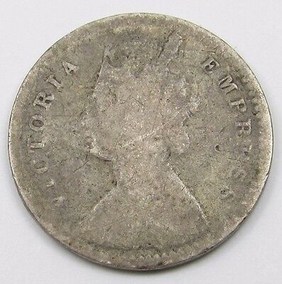 INDIA - QUEEN VICTORIA TWO ANNAS SILVER COIN dated 1890