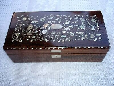 Antique 19th Century Mother of Pearl Inlaid Rosewood Victorian Glove Box