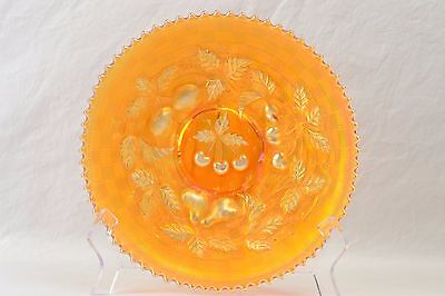 Northwood Glass Plate, 1912 Three Fruits Marigold Carnival Plate Basket Weave