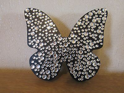 Large black butterfly plaque, diamond effect stones.