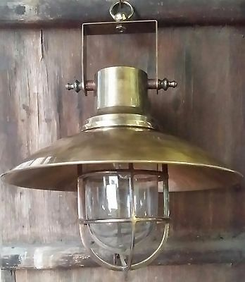 Vintage Style Marine Nautical Brass Ship Hanging Light With Brass Deflector Mint