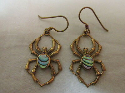 Antique/vintage Gold And Paua Shell Spider Earrings Vgc Unusual