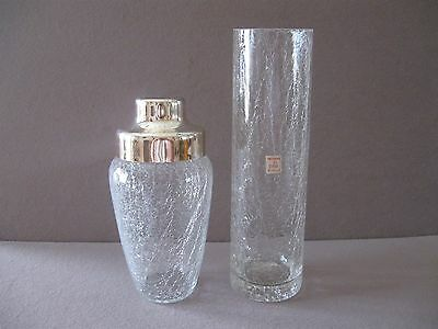 2 Pieces Crackle Glass Crystal Vase & Cocktail Shaker Germany