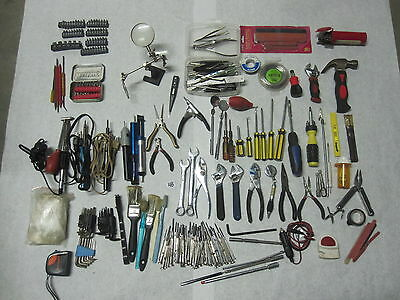 Large Lot of Misc Hand Tools, Pliers, Stapler, Soldering Iron, Holder Clips,