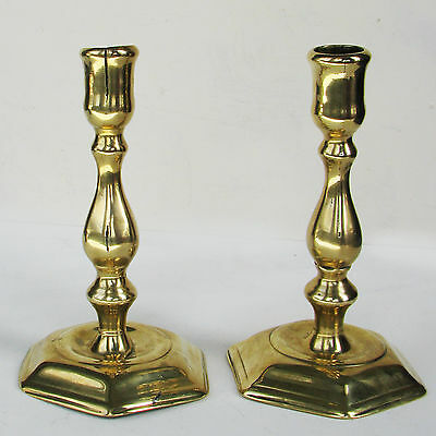 Antique Pair of Mid 18th Century Georgian Brass Seamed Candlesticks