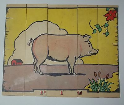 Antique Lithograph PIG Cardboard CHILD'S STRIP PUZZLE Colorful