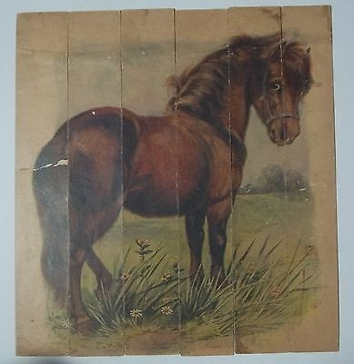 Antique Lithograph HORSE / PONY Cardboard CHILD'S STRIP PUZZLE Pasture Scene