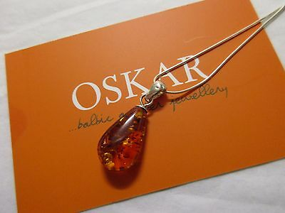 925 silver chain and baltic amber pendant necklace by oskar