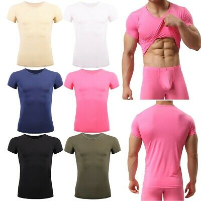 HOT Mens T-Shirt Bodybuilding Gym V-Neck Top Slim Fitness Sports Tight Short Tee
