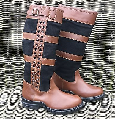 Hkm Milano Laced Side Riding Country Boots - Fits An Array Of Calf Widths - Sale