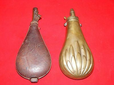2 Black Powder Flasks, Brass Lotus Flower Design And Leather