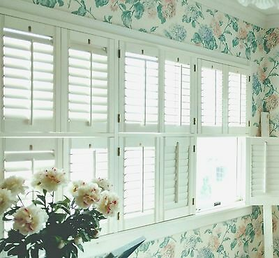 "Interior Solid Wood Custom Plantation Shutters White 2 1/2"" Louvers"