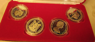 1984 Isle Of Man College Of Arms Diamond Finish Proof 4 Crown Cased Set.