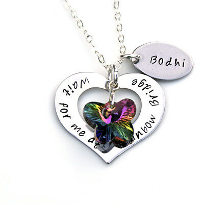 Rainbow Bridge Pet Memorial Gift, Personalised Pet Memory Jewellery
