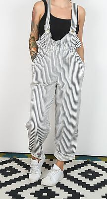 Dungarees Striped UK 12 Medium Fitted  Oversized 8-10 XS S  Denim Mid Blue (J2G)