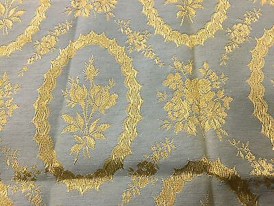 Vintage French Jacquard Brocade Damask Fabric Sage Green Gold Oval Floral