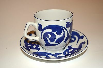Royal Cauldon 'Blue scroll' cup and saucer in blue and white