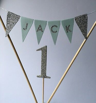 Personalised Cake Topper Bunting Boys First Birthday Baby Is One 1st Birthday