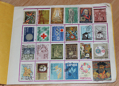 Stamp Album with 90 Stamps Portugal, Angola, Macau, Timor, Mozambique etc