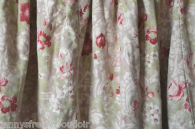 Antique French pure thick floral cotton curtain fabric, roses and trellis work
