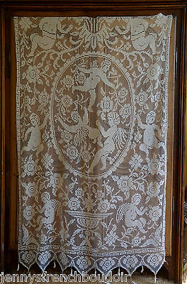 Antique French figural filet lace curtain or bed cover, pure unused linen