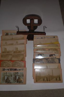 Antique wooden stereoscope + collection of cards/stereoviews