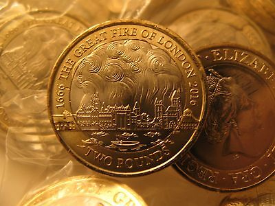 The Great Fire Of London £2 Coin Uncirculated From A Bank Bag