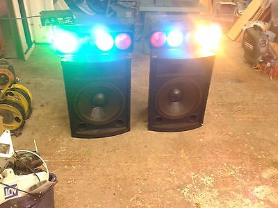 2x15 inch PA/Disco Speakers with horns, pair and lights