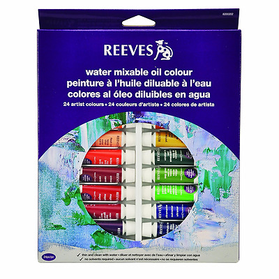 Reeves 24-Pack Water Mixable Oil Color Tube Set, 10ml