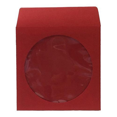 Thick Red Paper CD/DVD Sleeves Envelope with Window Cut Out and Flap