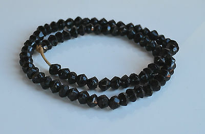 ANTIQUE VICTORIAN MOURNING NECKLACE faceted BLACK JET GLASS 23'' no clasp