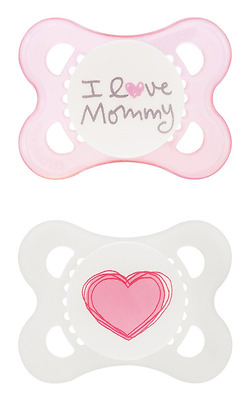 MAM Silicone Love and Affection Pacifier, I Love Mommy, 0-6 Months, 2-Count