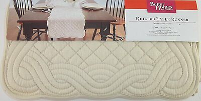 Cream Woven Quilted Table Runner, Better Homes & Gardens, Creamy Parchment, NEW!