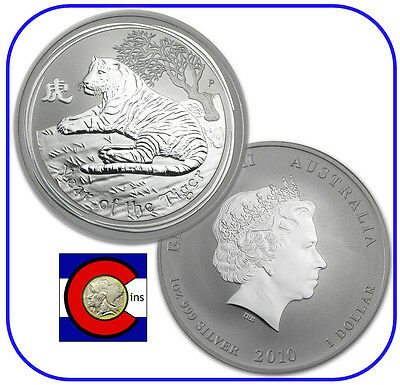 2010 Lunar Tiger 1 oz Silver Coin, Series II from Perth Mint in Australia