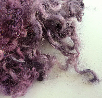 Pink Lavender Curly Wool Locks - Hand Dyed Sheep Curls - Dolls Hair - Felting