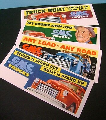 Four (4) Vintage Colorful Advertising Ink Blotters Gmc Trucks--Very Rare & Nice!
