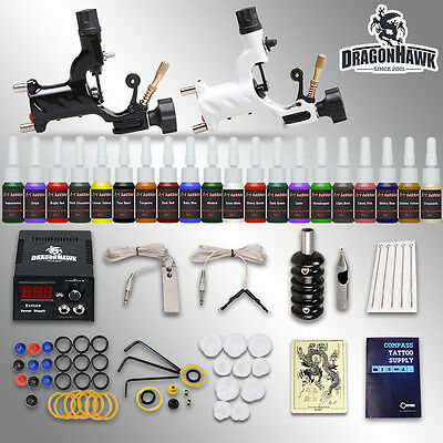 Beginner tattoo kit 2 machines 20 ink sets power supply needles