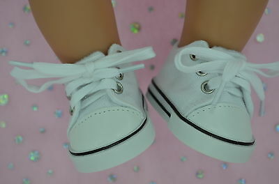 "Dolls Shoes For 17""Baby Born~18""American Girl  WHITE RUNNERS"