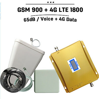 GSM 900 4G LTE 1800 Cell Phone Signal Booster Antenna Kit LCD Display Amplifier