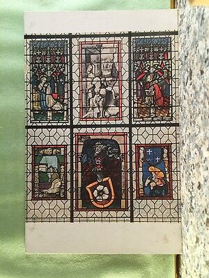Postcard French & German Stained Glass, 15Th Century, Antique, Rppc