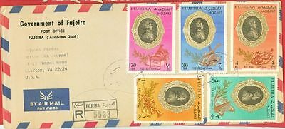 Fujeira Topic Music MOZART 5 diff stamp used on Registered cover to USA