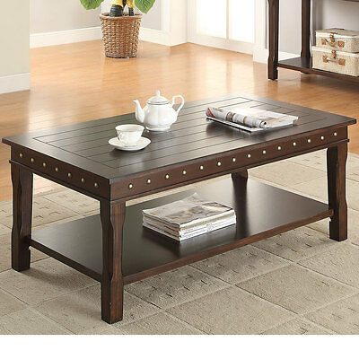 LIVING ROOM FURNITURE Wood Coffee Table Espresso Brown Flip Top - Studded coffee table