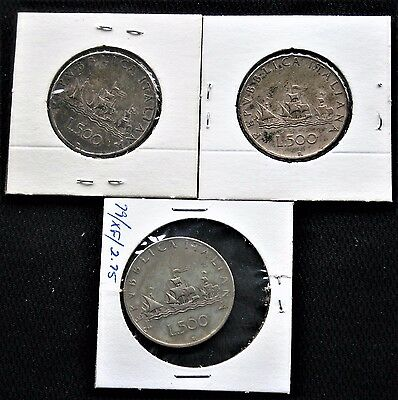 Italy 500 Lire Lot (3) Coins 1958-2001 Silver