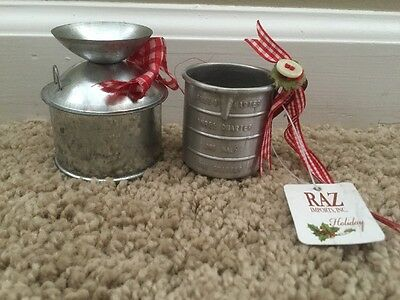 Country Tin Vintage Cup Milk Can Ornaments Raz New NWT