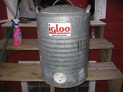 Vintage Igloo cooler 10 gallon perma lined galvanized water industrial