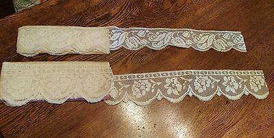 Vintage Flowers on Net Lace on Bolts, Remnants of over 3 yards on each bolt