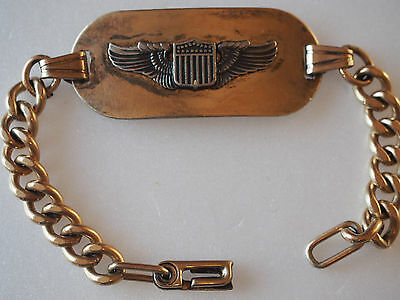 WWII US Army Air Corps Pilot to Front Wing 1/8 GF 10K Gold Name Tag Bracelet