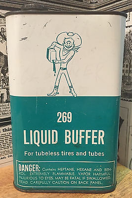 Vintage Ace Rubber Co. Liquid Buffer Can - Gas Station & Oil Advertising - Tires