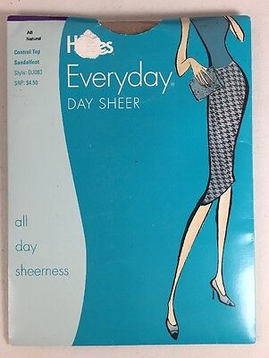 Hanes Everyday Day Sheer Pantyhose Size A B Natural Control Top Sandalfoot New