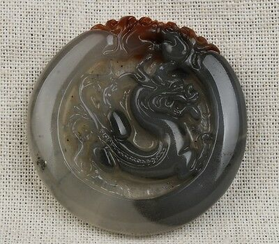 Chinese Hand-carved exquisite Dragon carving Huanglong jade Pendant